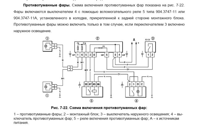Схема подключения туманок
