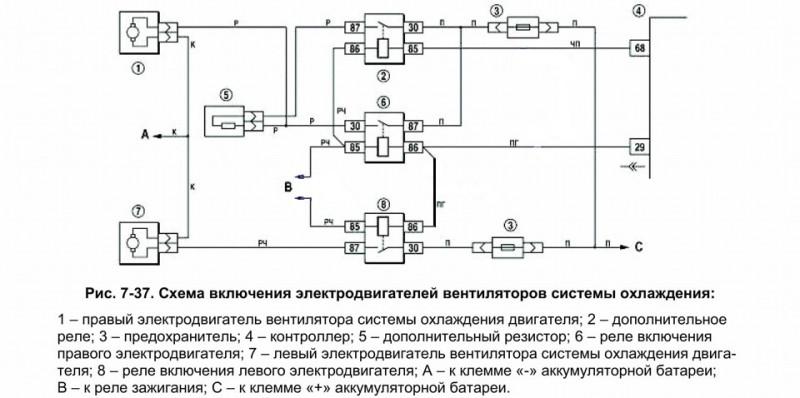 Схема включения вентиляторов