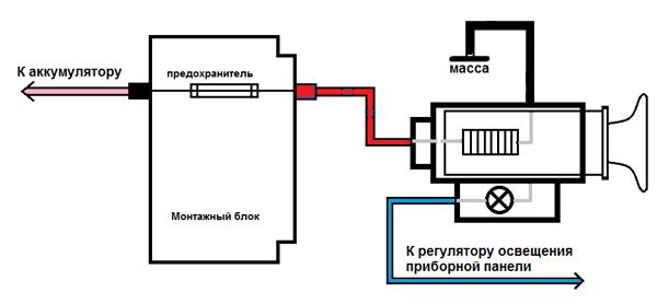 Схема подключения детали